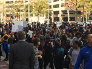 Hundreds of D.C. high school students rally in front of the Trump International Hotel to protest Donald Trump's election to the presidency. (Courtesy Don Squires)