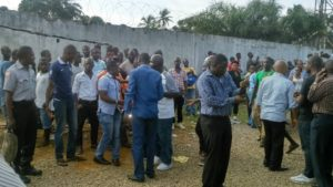 Hundreds of Liberians gathered at the Residence of Cllr. Sherman to watch the scene of police deployment
