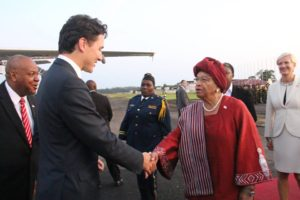 Canada PM being received by Liberian Leader at the RIA