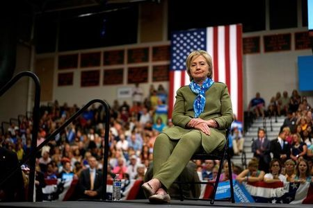U.S. Democratic presidential nominee Hillary Clinton waits to speak at a rally in Commerce City/Yahoo News