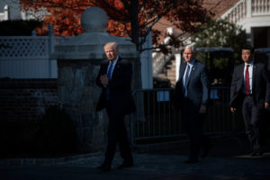 President-elect Donald J. Trump and Vice President-elect Mike Pence outside the clubhouse at the Trump National Golf Club in Bedminster, N.J., last week. Credit Hilary Swift for The New York Times