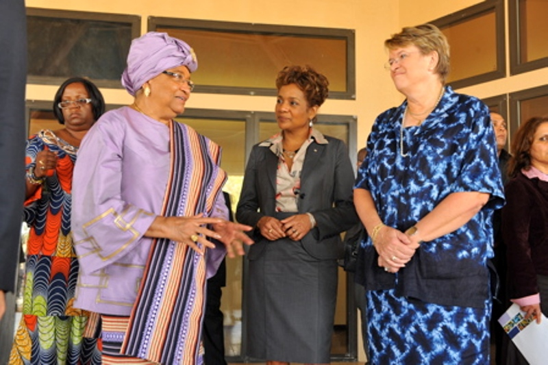 The Governor General of Canada speaking with President Sirleaf (left) and Ambassador Ellen Margrethe Loj, former Special Representative of the Secretary-General in Liberia at the International Colloquium on Women's Empowerment, Leadership Development, International Peace and Security On March 7, 2009 - 8 years ago