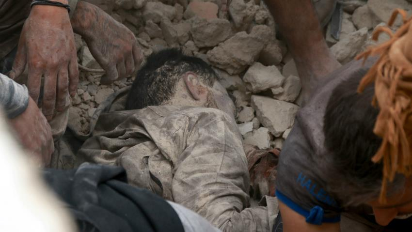 The Syrian civil defence reported dozens of civilian deaths on Friday [AFP]