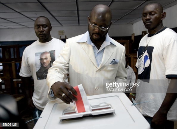 Senator George Manneh Weah casting his ballot during last election