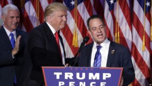 FILE - In this Nov. 9, 2016, file photo, President-elect Donald Trump, left, stands with Republican National Committee Chairman Reince Priebus during an election night rally in New York.