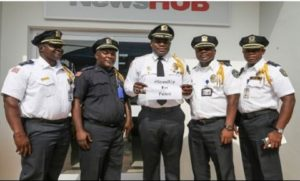 The Liberian Police Chief (Middle) with his delegation in Accra, Ghana