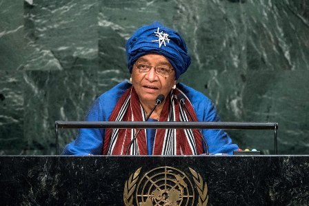 Ellen Johnson Sirleaf, President of the Republic of Liberia, addresses the general debate of the General Assembly's seventy-first session. UN Photo/Cia Pak
