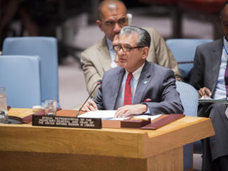 Special Representative of the Secretary-General and head of the UN Mission in Liberia (UNMIL), Farid Zarif, briefs the Security Council. UN Photo/Manuel Elias