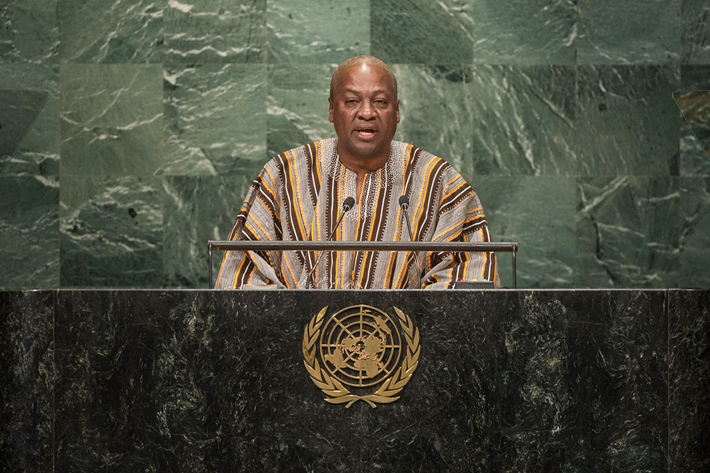 [John Dramani Mahama, President of Ghana, addresses the general debate of the General Assembly's seventy-first session. UN Photo/Cia Pa]