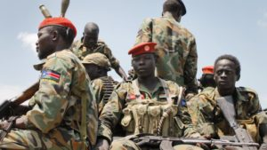 FILE - South Sudanese government soldiers, shown in an October 2016 photo, and local police repulsed an early morning assault on Yambio, Nov. 10, 2016.