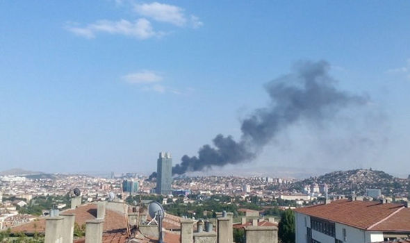 Smoke rises above Ankara after the explosion
