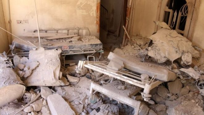 """Russia has been accused of targeting hospitals, which Mr Kerry said was """"beyond the accidental"""""""