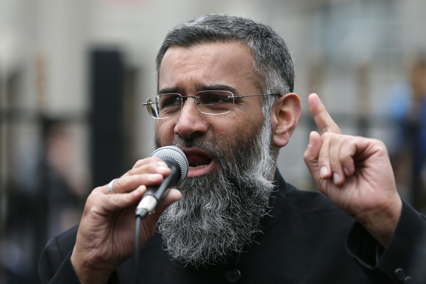 Anjem Choudary, speaking in April 2015 in a London mosque, has gained a reputation as a Pied Piper for young radicals and a cheerleader for the Islamic State. (Tim Ireland/AP)