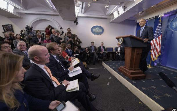 President Barack Obama thanks the members of the press as he begins his final presidential news conference, Jan. 18, 2017, in the Brady Press Briefing Room of the White House in Washington. Obama said having reporters in the White House made him better, and that a free press is essential to democracy.