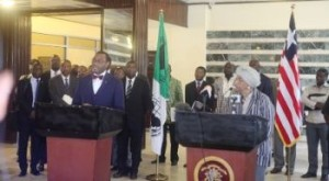 Dr. Adesina and President Sirleaf at a joint Press Conference
