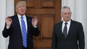 VOA FILE - President-elect Donald Trump stands with retired Marine Corps Gen. James Mattis at Trump National Golf Club Bedminster clubhouse in Bedminster, N.J., Nov. 19, 2016.
