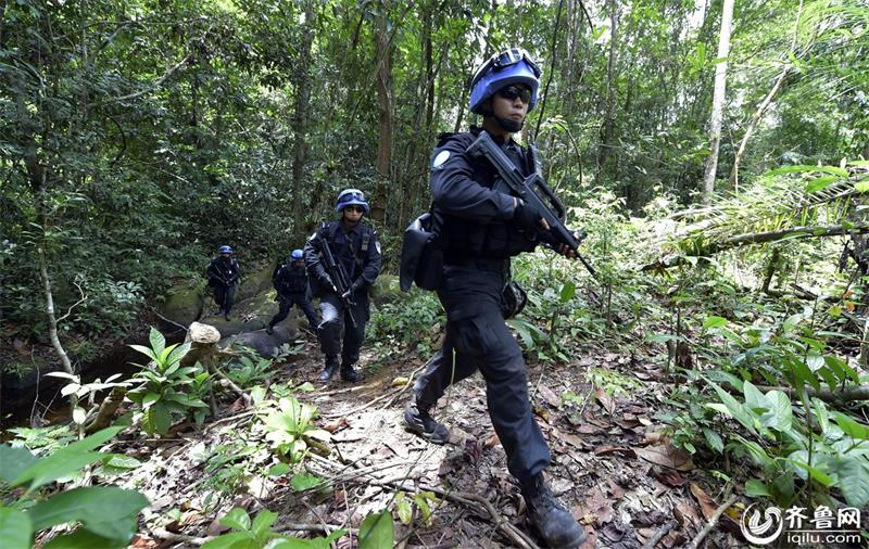 The squad members go through a rain forest during a patrol mission.