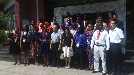 Ambassador Zhang Yue with beneficiaries and government officials at the PRC Embassy in Monrovia on Tuesday