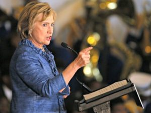 Democratic presidential candidate Hillary Rodham Clinton speaks during a campaign stop in Baton Rouge, La., Monday, Sept. 21, 2015. (AP Photo/Jonathan Bachman)