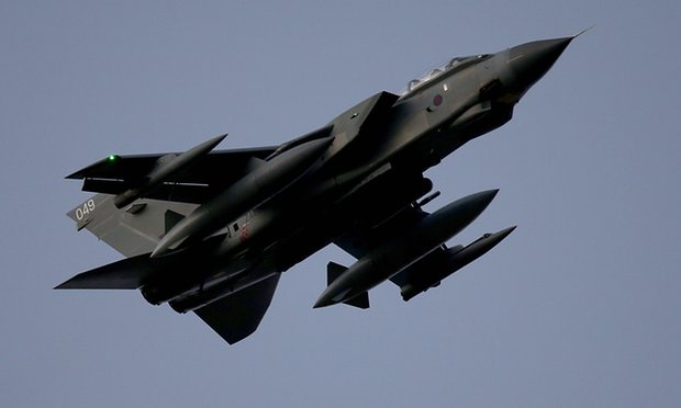 An RAF Tornado over the Akrotiri air base where British jets are based for missions against Islamic State in Iraq and Syria. Photograph: Matt Cardy/Getty Images