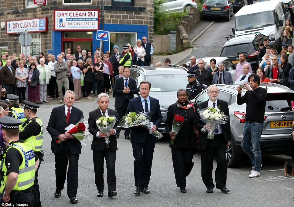 Hilary Benn, MP for Leeds Central, Speaker of the House of Commons John Bercow, PM David Cameron, Commons chaplain Reverend Rose Hudson-Wilkin and Labour leader Jeremy Corbyn arrived in Birstall