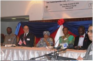 Pres. Sirleaf, the British Ambassador and other Dignitaries on the Platform during the Forum