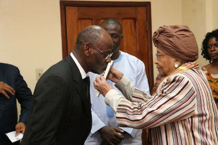 president-sirleaf-administers-oath-to-ambassador-dr-mohammed-sheriff