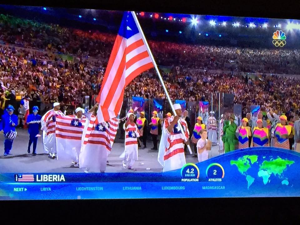 Liberians at Rio 2016 proudly fly country's flag high