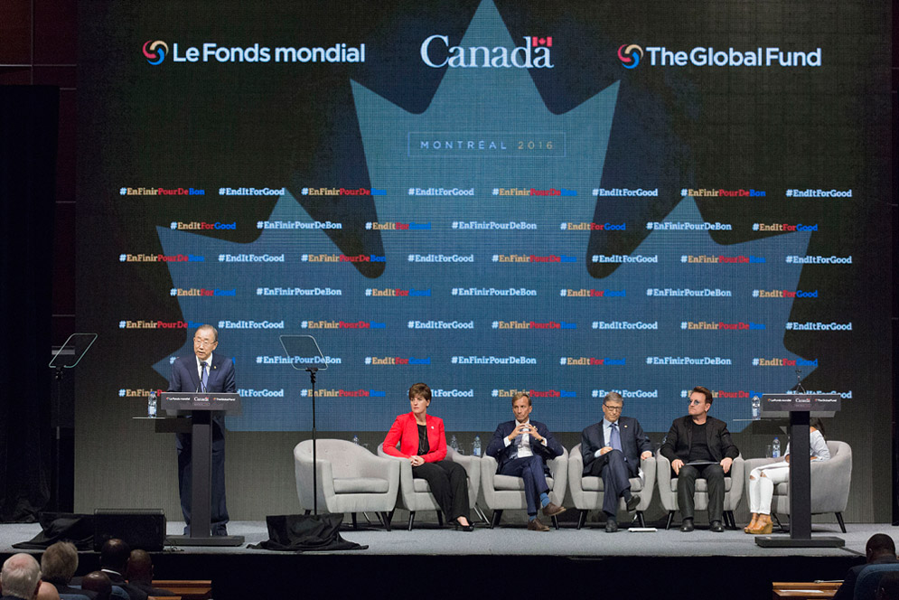 [Secretary-General Ban Ki-moon (left) addresses the opening of the Fifth Replenishment Conference of the Global Fund to Fight Aids, Tuberculosis and Malaria, in Montreal, Canada. UN Photo/Evan Schneider]