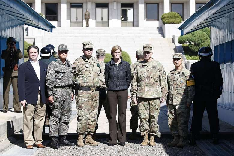 Ms. Power at the Demilitarised Zone yesterday, she also visited a settlement support centre for North Korean defectors.PHOTO: EUROPEAN PRESSPHOTO AGENCY