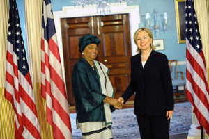 Flash Back: Liberian Leader in a handshake with Hillary Clinton