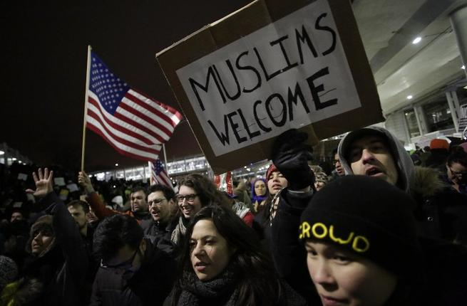 Protesters converged on airports across the US to demonstrate against the ban. (AFP/Joshua Lott)