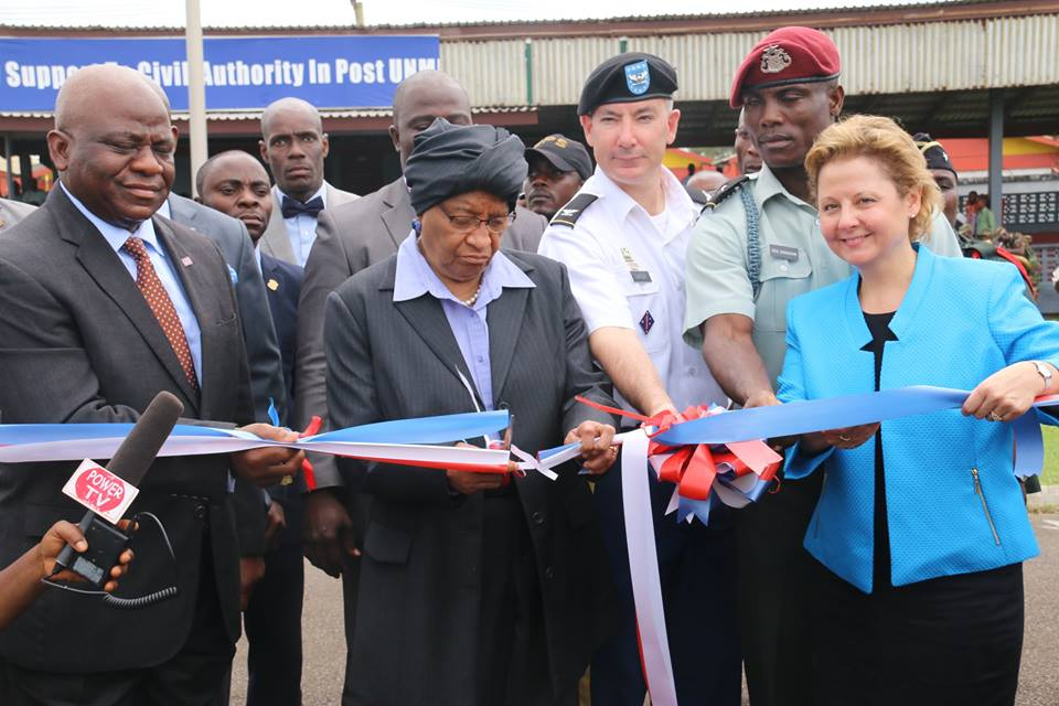 Liberian Leader at the official turning over of the equipment