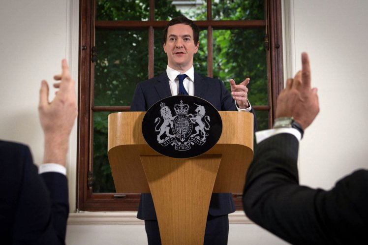 """Chancellor George Osborne speaks at The Treasury, London, where he moved to try to calm market turmoil triggered by the pro-Brexit vote. PRESS ASSOCIATION Photo. Picture date: Monday June 27, 2016. Mr Osborne spoke ahead of the start of financial trading and outlined how the Government will """"protect the national interest"""" after its humiliating defeat in the landmark nationwide poll. See PA story POLITICS EU. Photo credit should read: Stefan Rousseau/PA Wire"""
