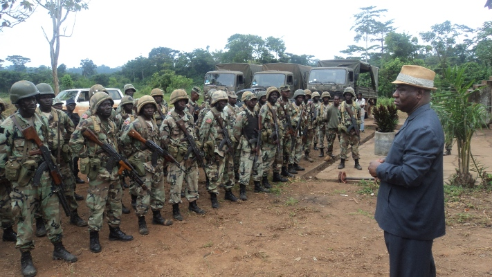 Liberia's Defense Minister addressing soldiers of the Armed Forces of Liberia (AFL)