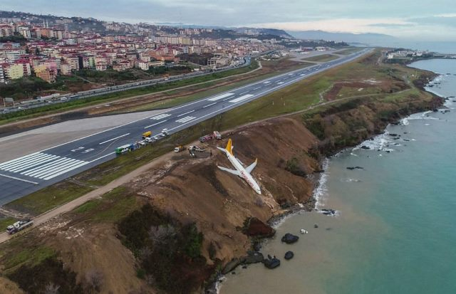 Turkish passenger plane skids off runway metres away from sea