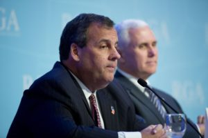 Indiana Gov. Mike Pence and New Jersey Gov. Chris Christie at the Republican governors' conference in Boca Raton, Florida on Nov. 19, 2014. AP Photo/J Pat Carter