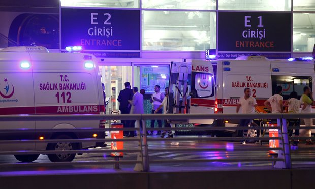 Turkey airport Ambulance cars arrive at Turkey's largest airport, Istanbul Atatürk, on Tuesday night after two explosions killed at least 10 people. Photograph: Osman Orsal/Reuters