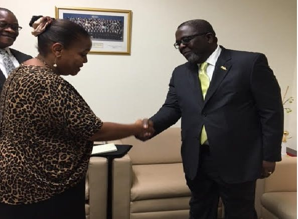 Flash Back: Ambassador Lewis Brown Shakes Hand With UN official