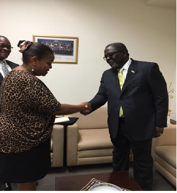 Amb Brown in handshake with the Deputy Chief of Protocol at the UN , during the courtesy call ahead of presentation of letter of credence   Ambassador Brown was briefed about the protocols and had a guarded tour with members of the UN protocol team