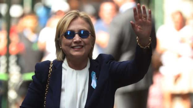 Mrs. Clinton waved to photographers after she left her daughter's home in New York