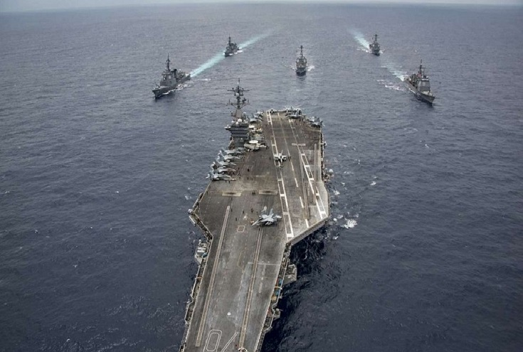 Japan sends its biggest warship to protect USA  supply vessel Carl Vinson