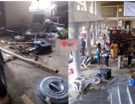 Scene from the destruction of the Catholic in Nigeria