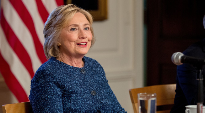 Democratic presidential candidate Hillary Clinton attends a National Security working session at the Historical Society Library in New York, Friday, Sept. 9, 2016. (AP Photo/Andrew Harnik)