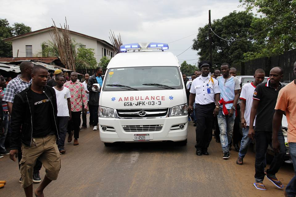 Ambulance carrying the remains of Diakite