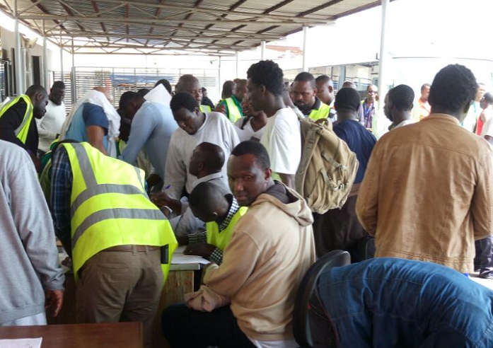 Some of the deportees at the Kotoka International Airport in Accra
