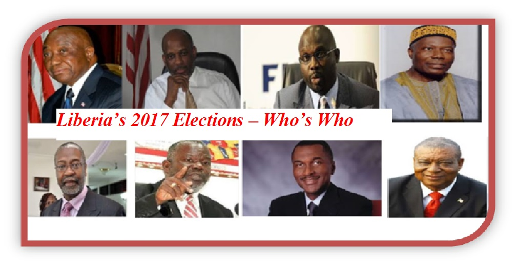 Photos of candidates: 1.Joseph N. Boakai/Unity Party(UP), Charles W. Bruskine/Liberty Party (LP),George M. Weah/Congress for Democratic Change (CDC),Togbah-Nah Tipoteh/Alliance for Peace & Democracy (APL),J. Mills Jones/Movement for Economic Empowerment (MOVEE),Prince Y. Johnson/Movement for Democracy & Reconstruction (MDR),Alexander Cummings/Alternative National Congress (ANC) and Benoni Urey/All Liberian Party (ALP
