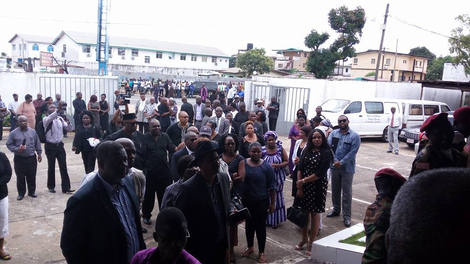 Liberian Leader, President Ellen Johnson Sirleaf among hundreds of mourners paying her last respect