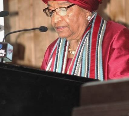 The Liberian Leader delivering her final State of the Nation address