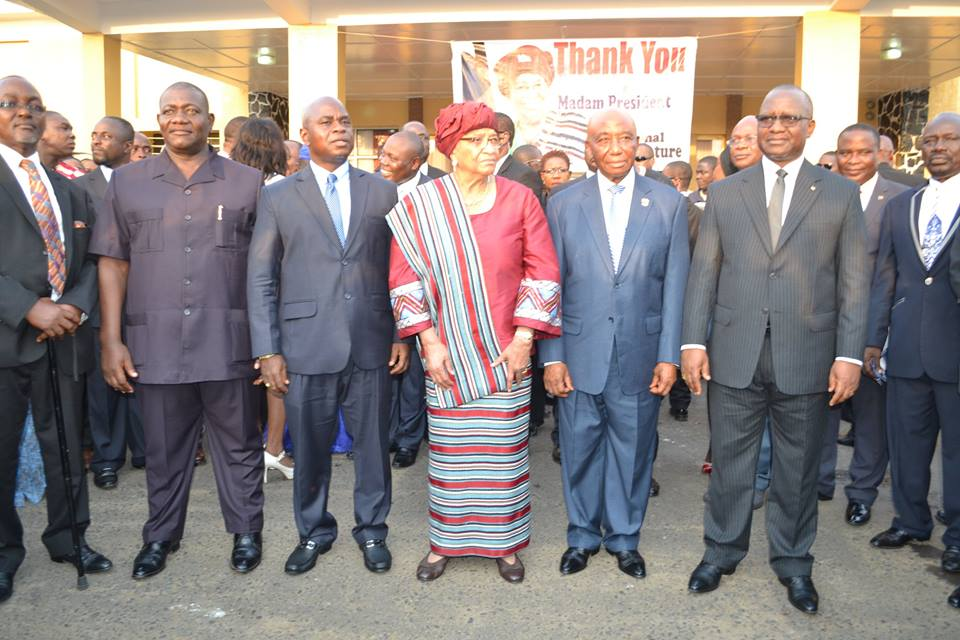 LINE-UP: L/R: Deputy of the House, Senate Pro-temp, Speaker, President Sirleaf, Vice President Boakai and Chief Justice Korkpor
